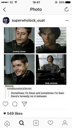 Other days I'm Castiel, and I'm also known to be like Crowley at times