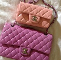 classic chanel bags in super cute pastel pink, and blush / 2013