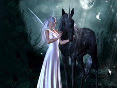 white fairies | FAIRY AND THE UNICORN, BLACK, DRESS, FAIRY, MOON, UNICORN, WHITE ...