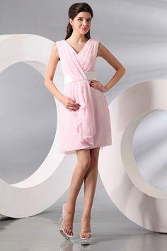 V-Neck Luxury Pink Bridesmaids Dress - Order Link: http://www.theweddingdresses.com/v-neck-luxury-pink-bridesmaids-dress-twdn2833.html - Embellishments: Draped; Length: Knee Length; Fabric: Chiffon; Waist: Natural - Price: 83.08USD