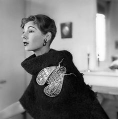 "Elsa Schiaparelli, 1930's fly brooch and Mlle Schap says to everybody else here ""that's not a pin, THIS is a pin""."