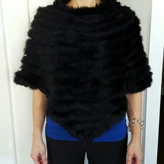 Black rabbit fur poncho. Perfect condition. Super soft. Sweaters Shrugs & Ponchos
