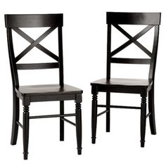 What I'll probably end up getting for the dining room because I want a set of 8 so need to keep the price reasonable. Antique Black Dining Chairs - Set of 2  $134.99