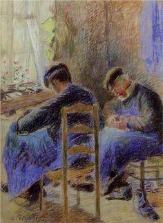Shoemakers/ Les cordonniers, ca 1878, Camille Pissarro. French Impressionist, Pointillist Painter (1830 - 1903).
