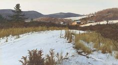 """""""November Snow, Vermont,"""" Ogden Minton Pleissner, watercolor and pencil on board, 16¼ x 29"""", private collection."""
