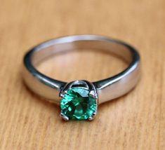 Genuine Emerald 1ct solitaire ring in Titanium by TheAladdinsCave
