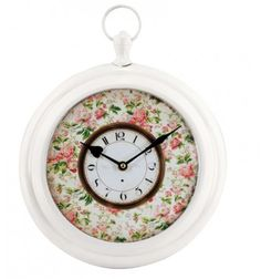Reloj pared Shabby blanco rosas