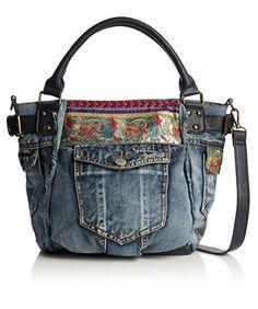 #Desigual Tasche Jeans - Modell Ethnic Deluxe. Muster: ethnisch, blau.