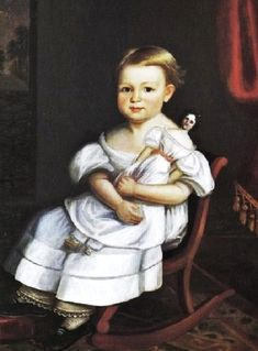 It's About Time: 19C American girls with dolls - 1837 Joseph Whiting Stock (American artist, 1815–1855) Young Girl