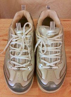 5eb1c428b707a0 Skechers Women s Shape Ups Stability Shoe Size 9 Silver Blue  SKECHERS   RunningCrossTraining Striped