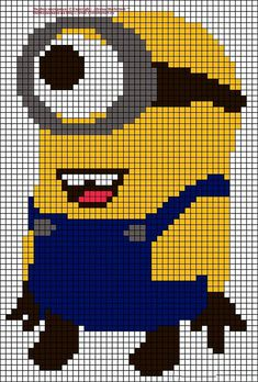 Despicable me Minion perler bead pattern. I feel like I could turn this into a quilt pattern! Ooh I can make a minion rug with this pattern Graph Crochet, Minion Crochet, Pixel Crochet, Beaded Cross Stitch, Cross Stitch Charts, Cross Stitch Embroidery, Cross Stitch Patterns, Alpha Patterns, Loom Patterns