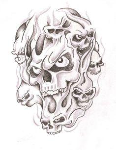 Cool Skull Drawings, Badass Drawings, Skull Sketch, Skull Artwork, Tattoo Design Drawings, Evil Skull Tattoo, Skull Rose Tattoos, Skull Hand Tattoo, Half Sleeve Tattoos Sketches