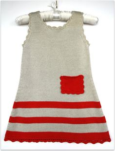 Girls knit dress Grey and red Summer dress Cotton by Leiladelle, £25.50