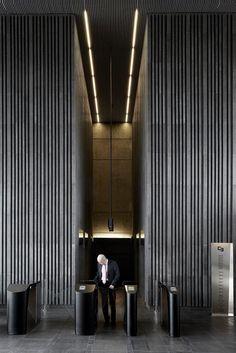 Headquarters Caja De Badajoz | Estudio Lamela | Spain | Lift Hall | Hall Design | Hall Lighting