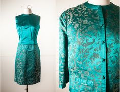 Royal Lynne 60s Silk Suit Silk Jacquard von BlueHorizonVintage