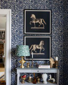 Royal Hunting Wallpaper in Blue and Grey from the Wallpaper Compendium Cool Wallpaper, Pattern Wallpaper, Hunting Wallpaper, Mind The Gap, Eclectic Design, Traditional Wallpaper, Burke Decor, Designer Wallpaper, Interior Walls