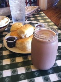 chocolate milk in a mason jar, loveless cafe. #nashville