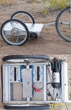 Greg's Electric Powered Bicycle Trailer Electric Bicycle Trailer Powered by an electric motor and b Velo Design, Bicycle Design, Electric Power, Electric Cars, Cool Bicycles, Cool Bikes, Vintage Bicycles, Bike Cart, Velo Cargo
