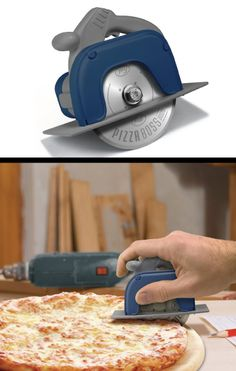 Cool Circular Saw Pizza Wheel. Cut pizza like a carpenter in action. (Christmas gift ideas for parents who have everything)