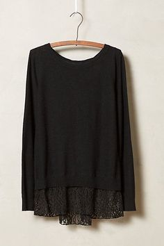 Lace-Parted Pullover anthropologie.com #anthroregistry. Like the lace detail peaking out from the bottom.