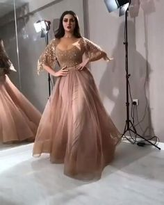 Blimey Who cares! This slay my look couture Tulle Embellished dress features a Round- neckline, embellished detailing, relaxed, maxi silhouette, an Beautiful Long Dresses, Elegant Dresses, Pretty Dresses, Indian Gowns Dresses, Evening Dresses, Rose Gold Evening Gown, Evening Gowns With Sleeves, Party Wear Dresses, Prom Dresses