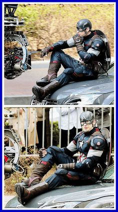 Captain America - Avengers: Age of Ultron I think something is missing from this picture. Yup, I know what it is, it's me. I'm suppose to be right beside him.