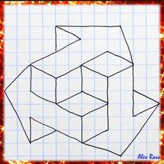 Graph Paper Drawings, Graph Paper Art, Art Drawings Sketches Simple, Pencil Art Drawings, Easy Drawings, Illusion Drawings, Illusion Art, Optical Illusions Drawings, 3d Art Drawing