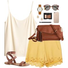 #summer #outfits / White Sleeveless Crop Top + Yellow Shorts