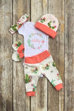 Girls Succulent Cactus Coming Home Outfit, Personalized Girls Baby Set, Custom Newborn Hospital, Baby Shower Gift, Floral Cactus Layette by DarlinDivasandDudes on Etsy