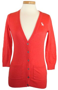 NEW Abercrombie & Fitch Sweater Womens BLAKE Cardigan V-Neck Top Coral Sz XS $68 #AbercrombieFitch #Cardigan