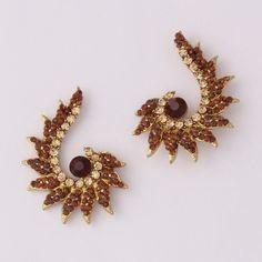 New Arrival Brown Stone Diamond Earring.  Buy online from www.craftsvilla.com #craftsvilla #jewellery #polki #pearl #earrings #india #buyonlinejewellery