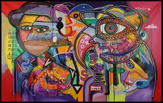 "60"" HUGE Colorful SURREAL STYLE ABSTRACT Modern ART PAINTING Birdman #Abstract"