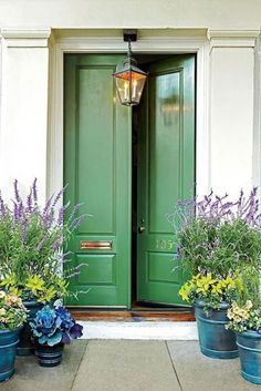 Kelly green door and gorgeous pots!- Kelly green door and gorgeous pots! Kelly green door and gorgeous pots!- Kelly green door and gorgeous pots! Kelly green door and gorgeous pots! Best Front Doors, Green Front Doors, Beautiful Front Doors, Front Door Entrance, The Doors, Front Entry, Entry Doors, Door Entryway, Entryway Paint