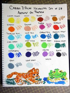 Caran D'Ache Neopastel Color chart and test doodles by betolung, via Flickr