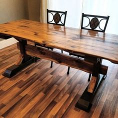Reclaimed Oak Trestle Table: This table was made completely from scratch using a single huge oak beam reclaimed from a 125 year old barn in northern Wisconsin. Barn Wood, Rustic Wood, Barnwood Ideas, Homemade Kitchen Tables, Wood Furniture, Reclaimed Furniture, Refinished Furniture, Furniture Vintage, Industrial Furniture