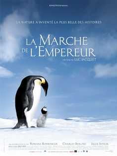 Official theatrical movie poster ( of for March of the Penguins Starring Morgan Freeman, Charles Berling, Romane Bohringer, Jules Sitruk Films Cinema, Cinema Posters, Film Posters, Film Movie, Film D'animation, Beau Film, Movies And Series, Movies And Tv Shows, Penguins
