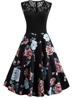 To find out about the Lace Panel Floral Print Circle Dress at SHEIN, part of our latest Dresses ready to shop online today! Cute Formal Dresses, Pretty Prom Dresses, 50s Dresses, Dance Dresses, Pretty Outfits, Vintage Dresses, Beautiful Dresses, Fashion Dresses, Floral Prom Dresses