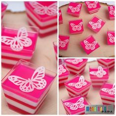 Butterfly Food - Pink Layered Jello Cups