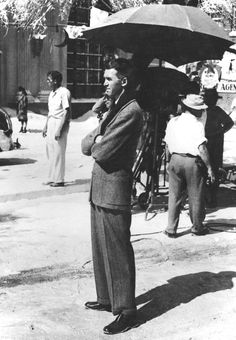 "Jimmy Stewart on the set of ""It's a Wonderful Life"""