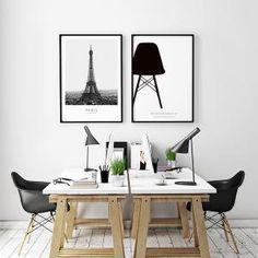 Svartvit poster Eames Eiffel chair, grafisk tavla