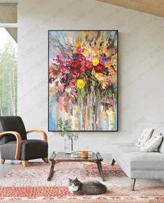 Acrylic Painting Flowers, Abstract Flowers, Oil Painting Abstract, Painting Art, Big Canvas Art, Sky Art, Surreal Art, Creative Art, Etsy Store