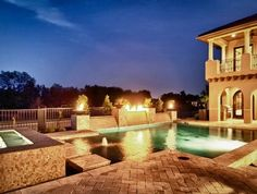 Home Design and Interior Design Gallery of Amazing Backyard With Pool Night View Kaleidoscopic Of Homes