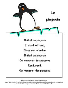 Paroles de la chanson « le pingouin » – Rapido-Présco Preschool Learning Activities, Teaching Kindergarten, Winter Activities, Daycare Themes, Core French, French Language Learning, French Lessons, Kids Songs, Winter Theme