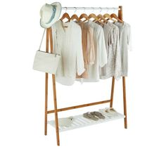 Buy Collection Belvoir Clothes Rail with Shelf - Bamboo & White at Argos.co.uk, visit Argos.co.uk to shop online for Hanging rails, Bedroom furniture, Home and garden