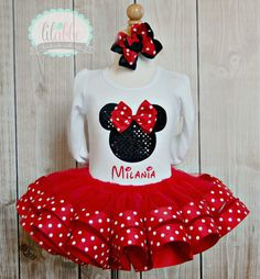 Minnie Mouse Tutu Set in Red with Sequin Silhouette-Includes Top/Onesie,Tutu, and Hair Accessory~Best Craftsmanship On Etsy on Etsy, $64.99