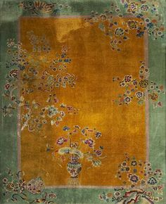 Chinese Art Deco wool carpet with gold field, the room size rug have floral decoration with a green border. Imported by David Shaw Nichols