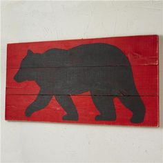 24x48  Black Bear on Red Wood Wall Painting Shades of Light