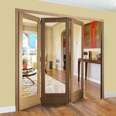 Freefold Oak Pattern 10 Style Folding 3 Door Set with Clear Glass, Height 2090mm, Width 1890mm. #foldingdoors #glazedfoldingdoors #internaloakfoldingdoors