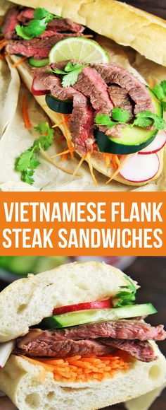 Kick-off your game day with these mouthwatering Vietnamese Flank Steak Sandwiches all football fans will love! #homegatingheroes ad