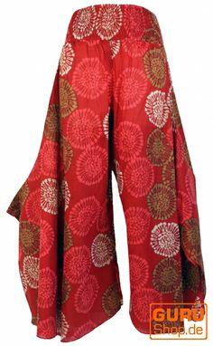 Mehr Hippie geht kaum: #Palazzohose mit Schlag in Rot-Braun mit Chrysanthemen-Muster.